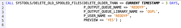 Delete old spooled files from SQL