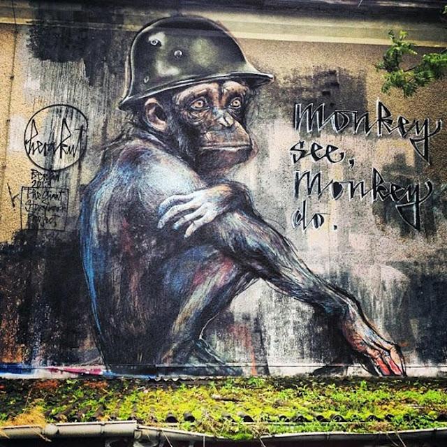 """German Street Art Duo Herakut Newest Mural """"Monkey See, Monkey Do."""" In Berlin. 4"""