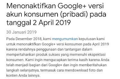 Google Plus Akan Di Non Aktifkan Pada Tanggal 2 April 2019 ini