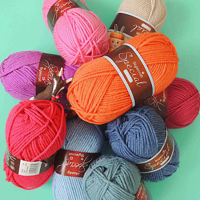 Balls of Stylecraft Special Chunky Yarn in a Spring colour palette