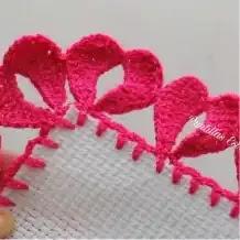 Puntilla Corazones a Crochet