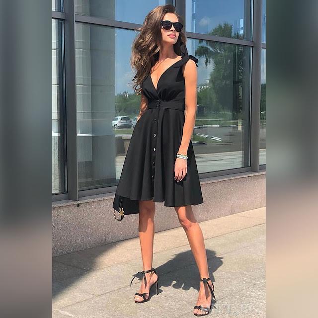 Αμάνικο κοντό  μαύρο φόρεμα EMELY BLACK