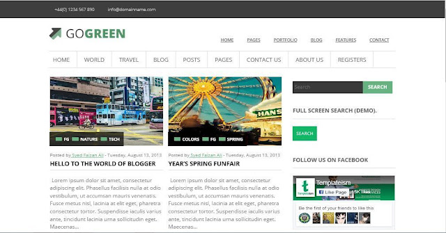 GoGreen - Template Blog Simple Sederhana Gratis