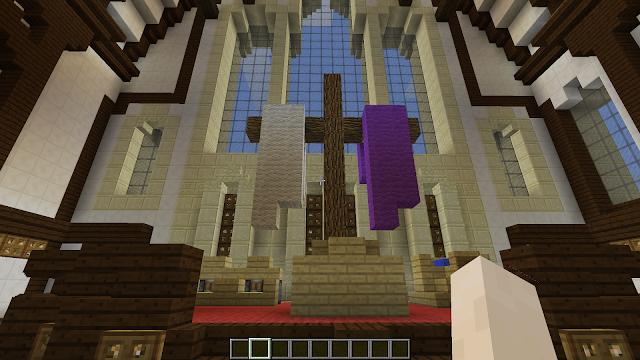 Een interieur van een kerk in het videospel Minecraft