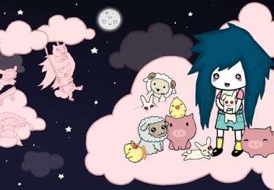 Una niña con ojeras y pelo azul está subida en una nube en compañía de otros animales.