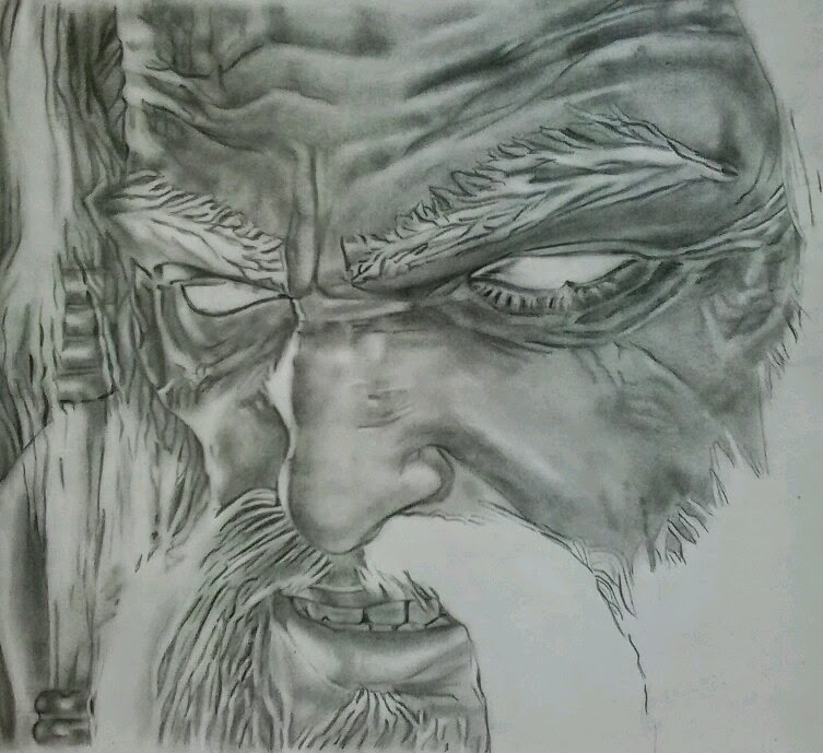 SeleOfficialART: God Of War - Zeus face drawing - step by step