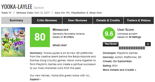 Yooka-Laylee Metacritic Nintendo Switch score rating December 14 release