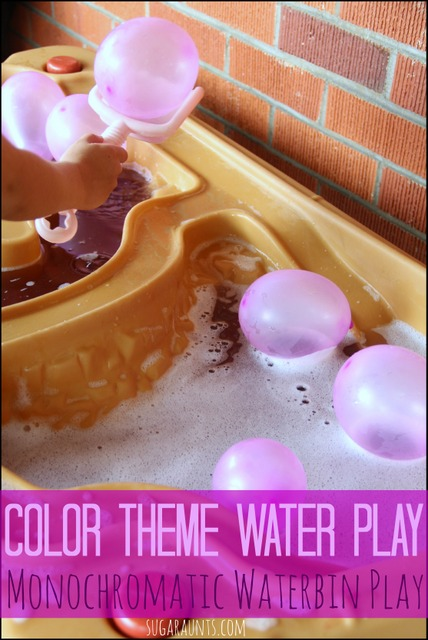 Explore a single color in the water bin with this learning through water play activity for kids.