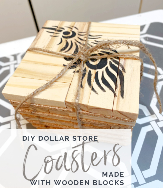 pile of coasters tied with jute and Pinterest overlay