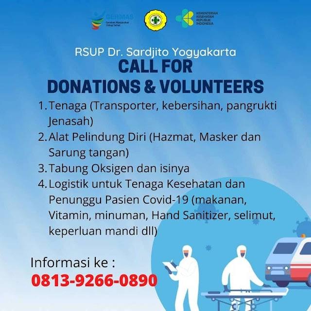 Call for Donations & Volunteers (RSUP dr. Sardjito Yogyakarta)