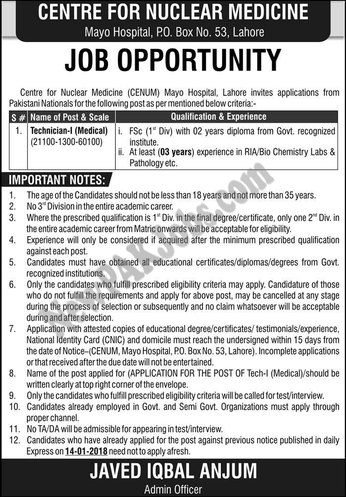 Mayo Hospital Center For Nuclear Medicine,Today New Jobs  Sunday 25 Feb 2018