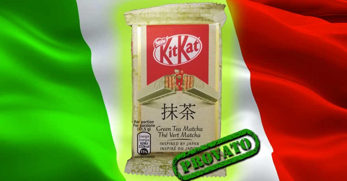 Confezione del KitKat al tè verde o Green Tea Matcha in vendita in Italia