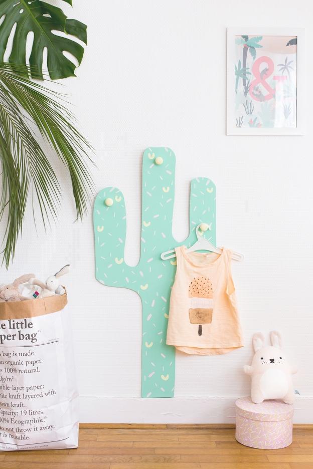 Perchero cactus DIY para los peques de casa