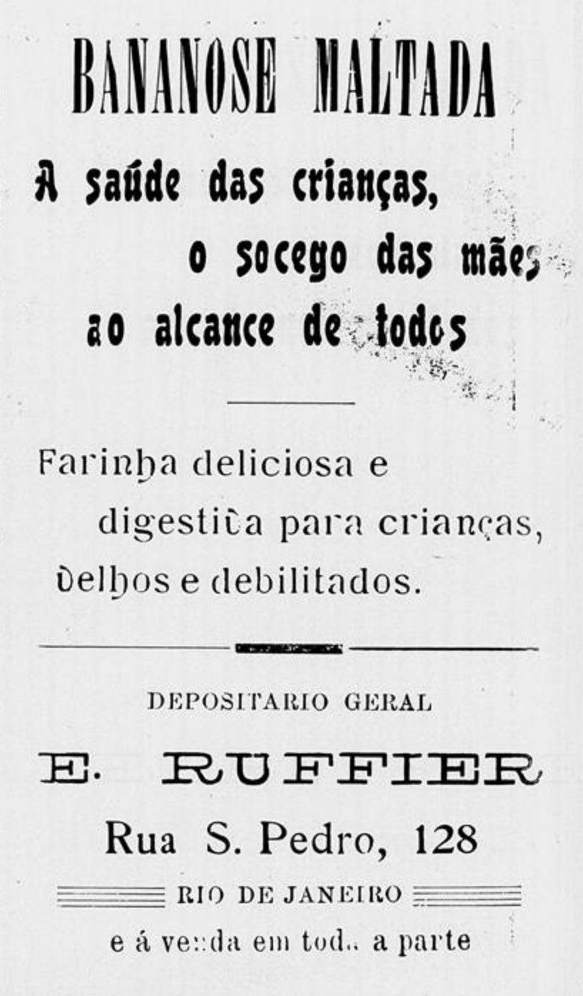 Anúncio de 1912 da Bananose Maltada para restabelecimento da saúde de crianças e idosos
