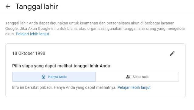 Cara Merubah Tanggal Lahir di Akun Google Supaya 18 Tahun