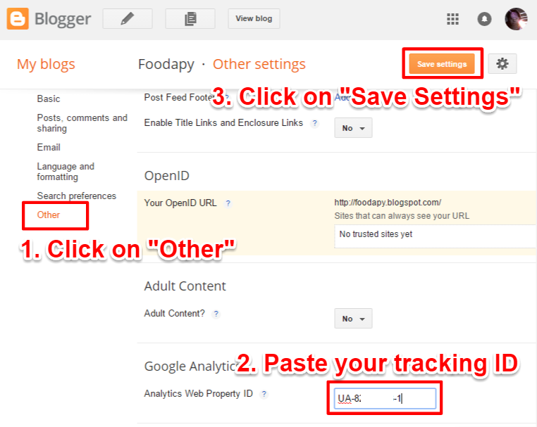 Blogger Set Up Google Analytics Tracking ID