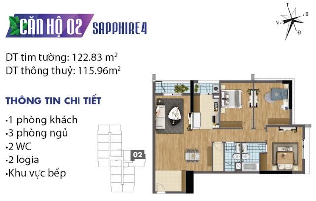 Mặt bằng thiết kế căn số 2 tòa Sapphire 4