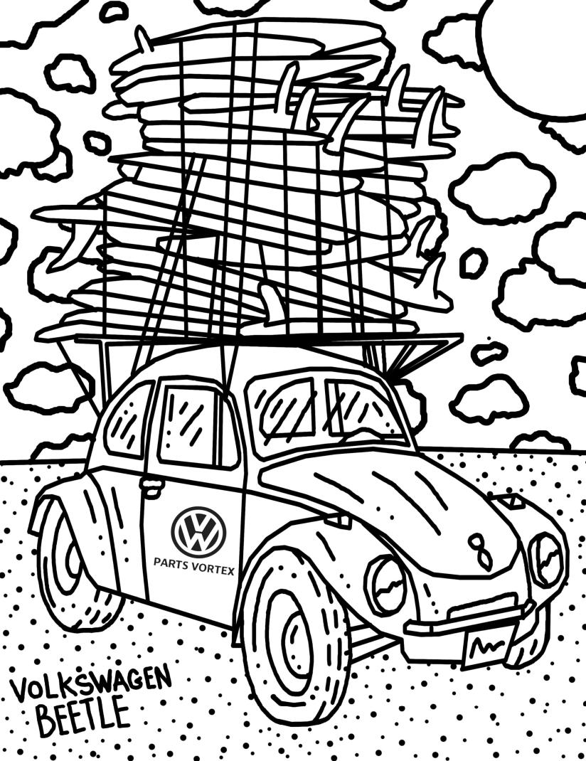 Diviértete colorando el clásico Volkswagen Beetle