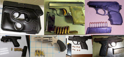 Top to Bottom, Left to Right: Firearms Discovered at RNO, PNS, PHX, RDU, PDX, SAT, IAH