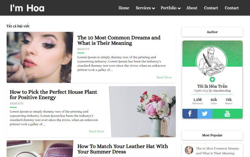 Template blogspot tin tức cá nhân đẹp