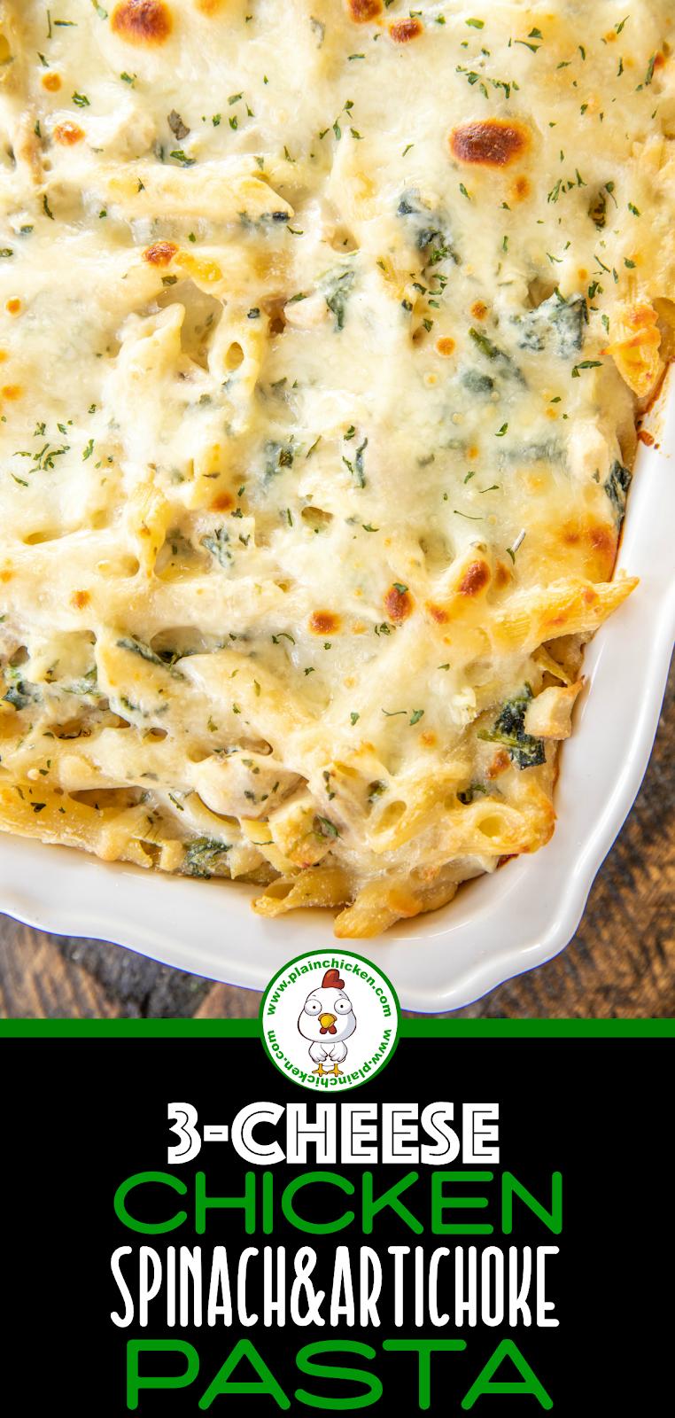 chicken and spinach pasta bake in casserole dish