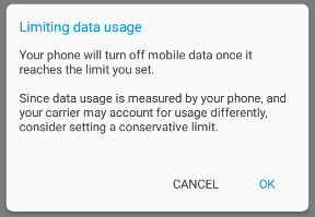 Warning: Limiting data usage