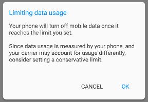 Warning: Limiting data usage