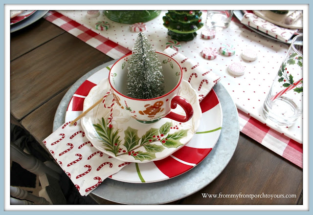 Cottage -Farmhouse -Christmas- Breakfast -Nook-Gingerbreadman-Mug-Candy Cane-Napkins-Holly-Dinnerware-Peppermint-Plate-From My Front Porch To Yours