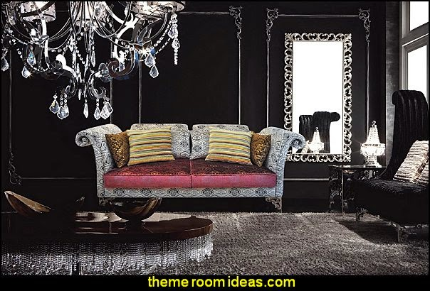 Modern Luxury Velvet Sofa - Savoy   Moulin Rouge Victorian Boudoir style bedroom decorating ideas - Moulin Rouge style bedroom ideas - boudoir themed decor - Moulin Rouge decor ideas -  French boudoir themed bedrooms - sexy themed bedroom decorating ideas - boudoir furniture - bordello bedrooms - Romantic style bedrooms - French Victorian boudoir - feathery lamps