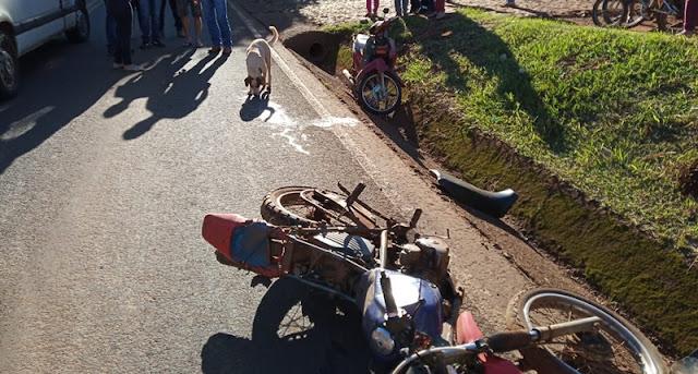 Roncador: Motociclistas ficam feridos em colisão na Avenida São Pedro