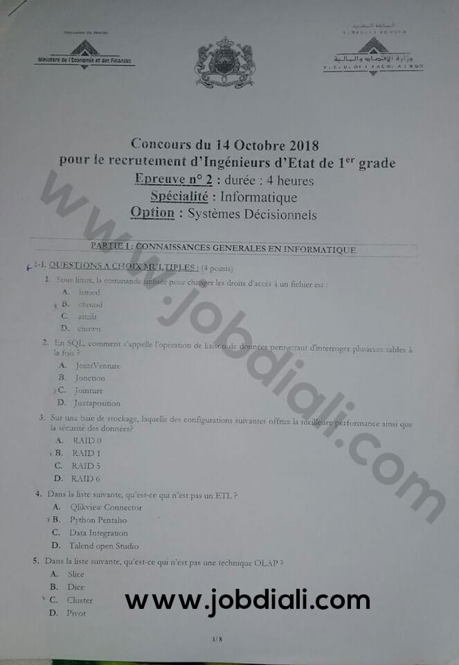 Exemple Concours de Recrutement d'Ingénieurs d'Etat de 1er grade 2018 - Ministère de l'Economie et des Finances