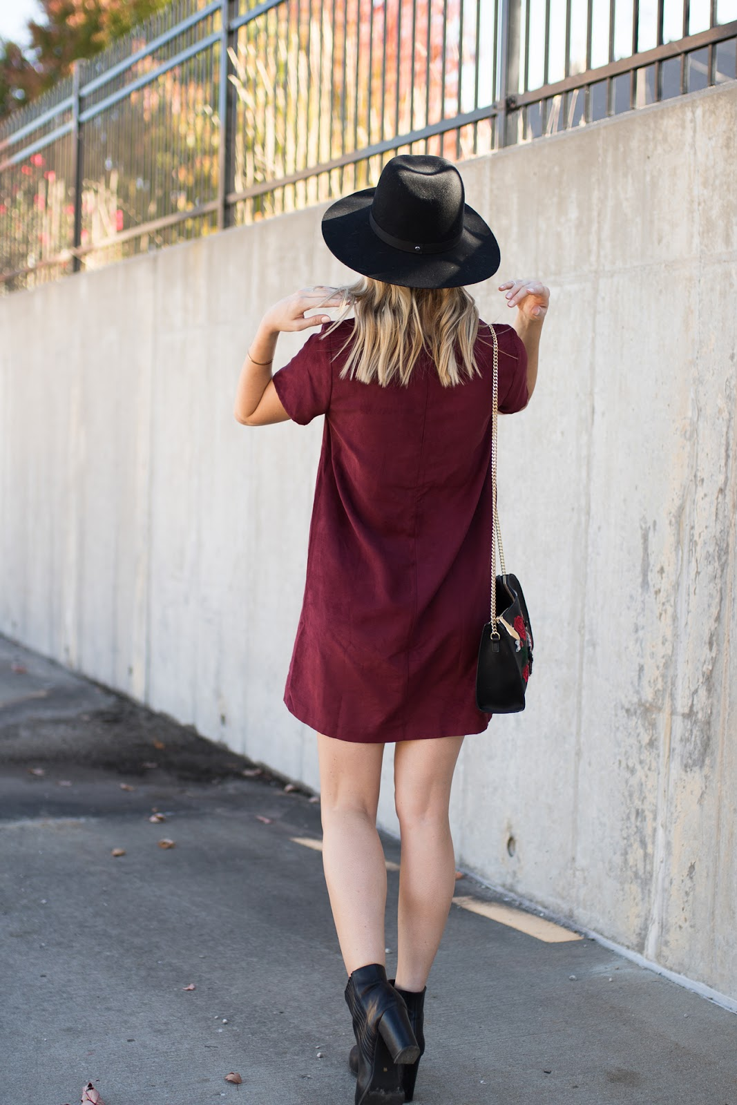 Burgundy suede shift dress