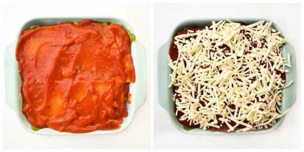 how to make spinach and corn lasagne - step 7 (a layer of tomato sauce, then topped with grated mozzarella)