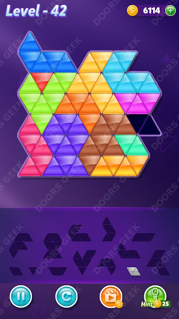 Block! Triangle Puzzle Champion Level 42 Solution, Cheats, Walkthrough for Android, iPhone, iPad and iPod