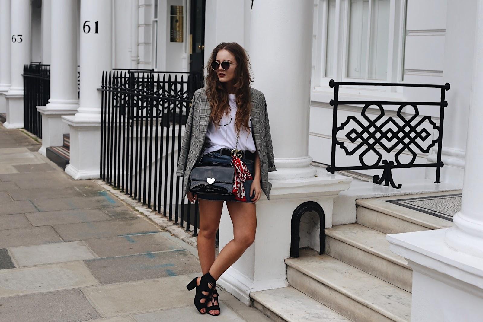 ondon based fashion blogger, london based style blogger, london based petite blogger, london petite style blogger, petite blogger, petite style blogger, london-based fashion blogger, gucci belt, gucci, gucci belt outfit, denim skirt, boohoo denim skirt, denim skirt outfit inspiration, fashion trend 2017, denim skirt must have, boohoo outfit inspo, boohoo denim, gucci belt, gucci, love moschino bag, love moschino, bershka blazer, underboob top, how to blog successfully, blogging tips, how to take blog photos, blogging 101, tips for blogging