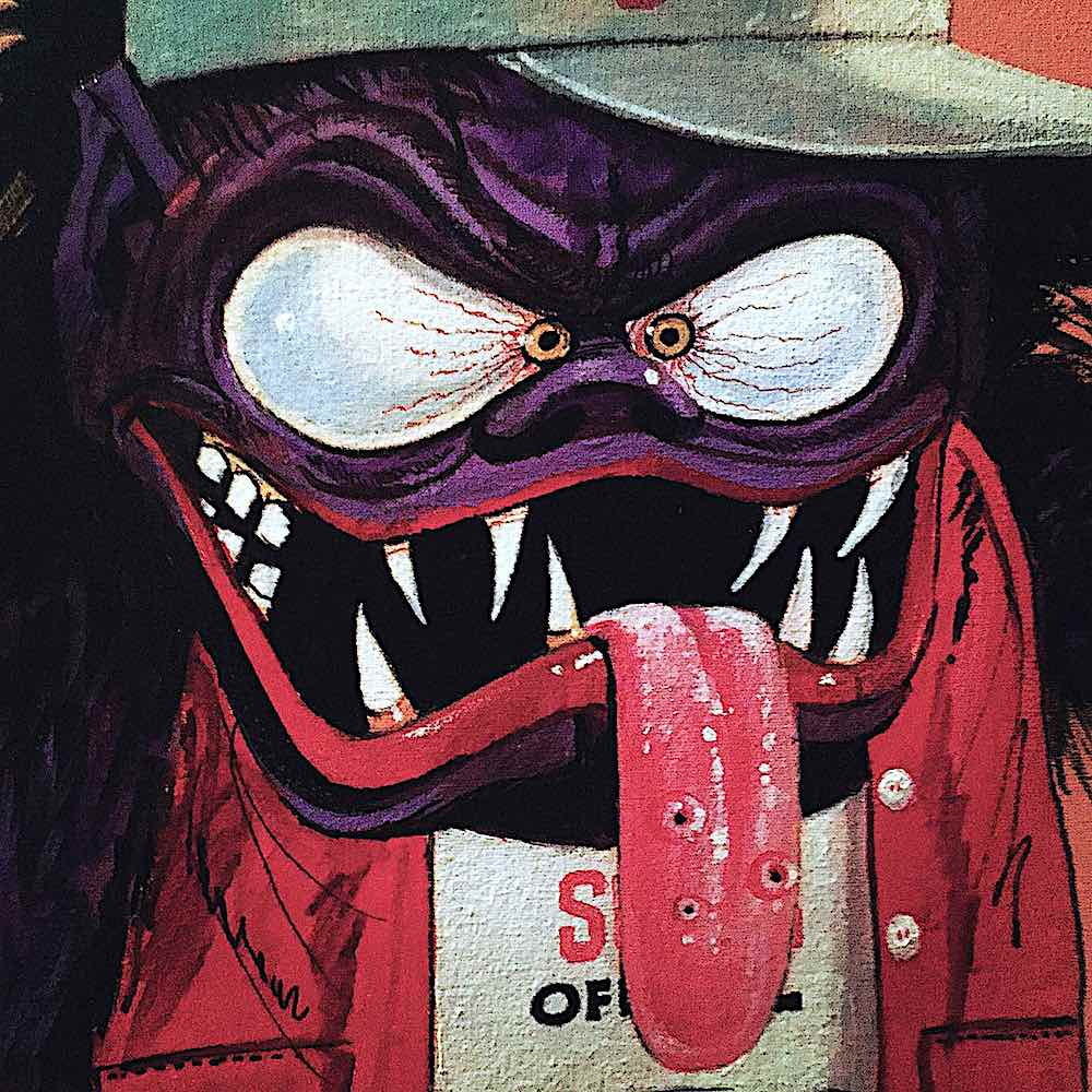 a Bill Campbell illustration of a grinning purple monster