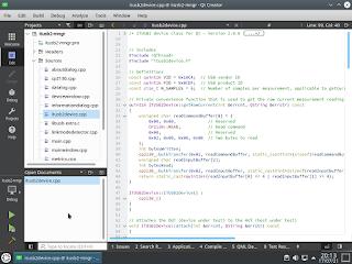 Secção do código-fonte da aplicação gráfica a ser exibido com o Qt Creator.