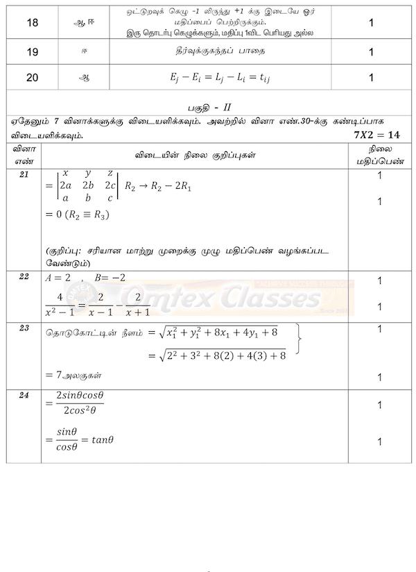 11th Business Maths - Public Exam 2020 - Answer Key for Original Question Paper - Tamil Medium