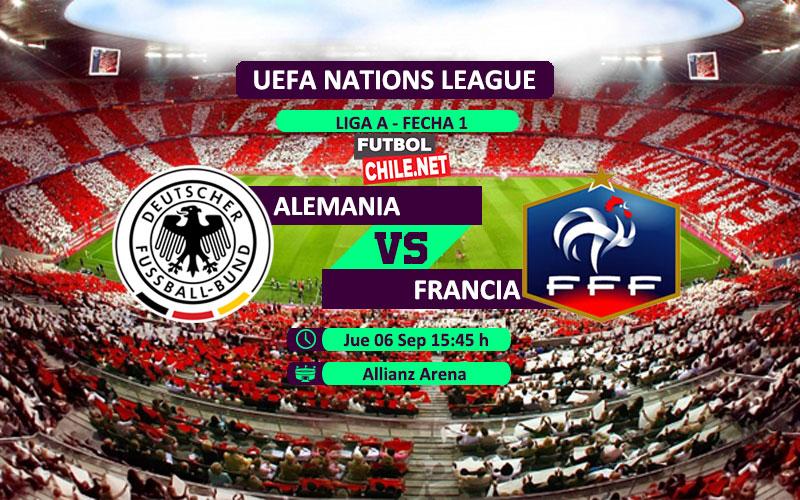 Mira Alemania vs Francia en vivo y online por la primera fecha del grupo 1 de la Liga A de UEFA Nations League