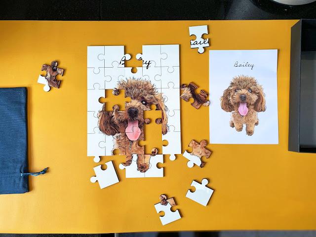 Pet jigsaw on yellow background