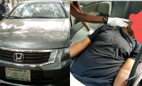 Man found dead in his car on Magodo Road, Lagos State. PHOTOS