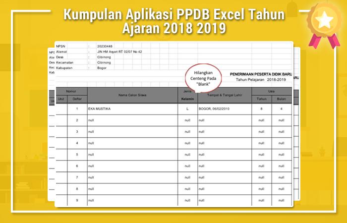 Kumpulan Aplikasi PPDB Excel Tahun Ajaran 2018 2019
