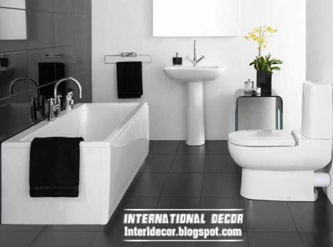small bathroom decorating ideas and designs, black and white bath