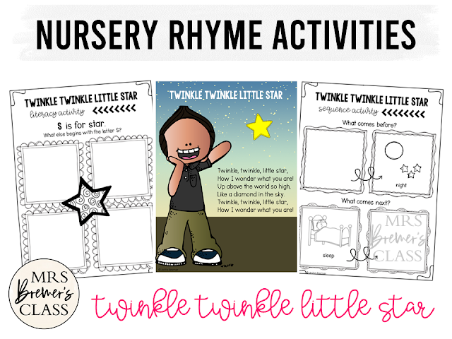 Twinkle Twinkle Little Star activities unit with literacy and math Common Core aligned companion activities for Nursery Rhymes in Kindergarten