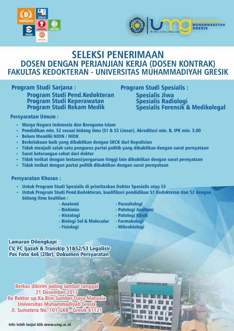 LOWONGAN KERJA DOSEN FAKULTAS KEDOKTERAN Universitas Muhammadiyah Gresik (UMG)