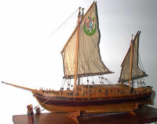 Modello di imbarcazione italiana del Pò, Burchio costruito da Pietro Cristini