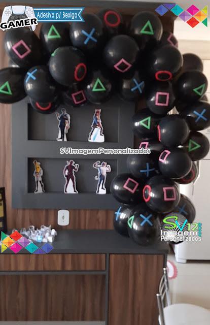 Festa Game Playstation dicas e ideias para decoração de festa personalizados adesivo para bexiga