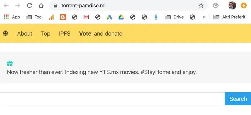 Torrent-Paradise sito per ricercare torrent