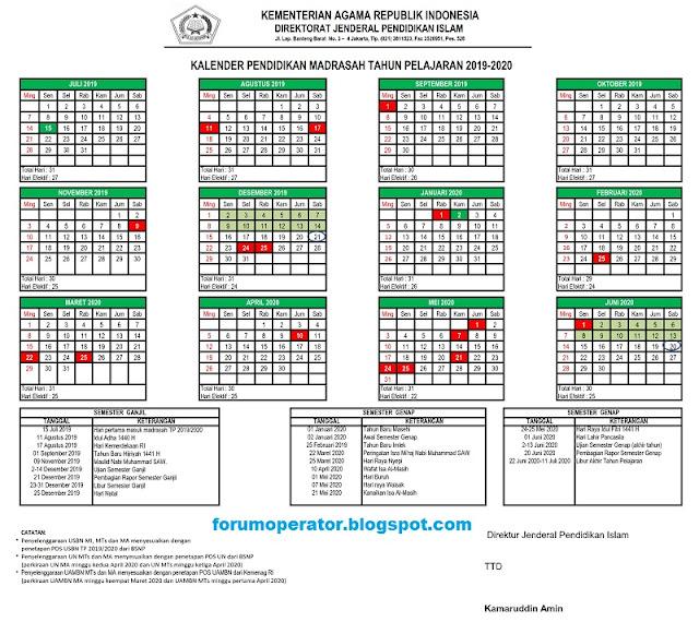 Kalender Pendidikan 2020 Kemenag Untuk RA MI MTs MA