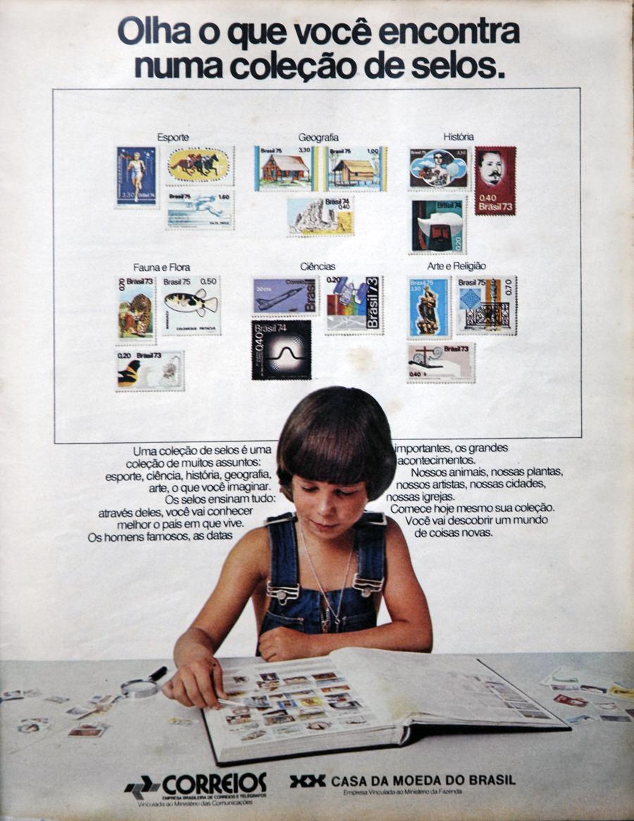 Anúncio veiculado no ano de 1976 promovendo os selos dos Correios